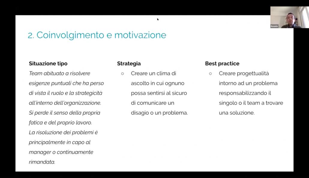 schermata rappresentativa del secondo punto affrontato durante il webinar: coinvolgimento e motivazione