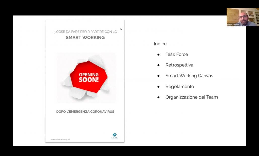 schermata rappresentativa dell'ultimo webinar gratuito sulle 5 cose da fare per ripartire con lo smart working nella fase 2